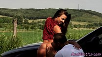 Euro gf butt pounded and rimmed outdoors