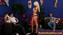 Free download video bokep Blonde gets double facial