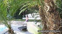 Fingering by pool caught on voyeur video