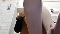 exhibitionist wife hides in the bathroom and films herself while playing in stockings صورة
