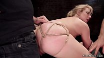Image: Tight tied blonde is anal bdsm banged
