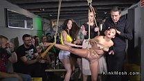 Rope bondage for petite slave in public