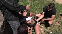Handcuffed blonde sucking dicks outdoor