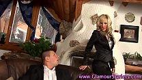Glam euro babe rides cock