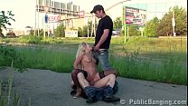 Cute blonde hottie girl public street sex threesome with 2 guys with big dicks