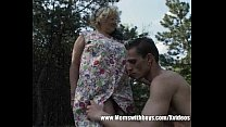 Fatty Mature Lady Fucks Young Lad In The Woods thumbnail