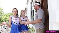 Teen Cheerleader Squad Grab Their Big Cocked Couch