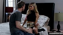Hot employee Ryan Mclane went to her boss house and met his boss seductive wife Jessa Rhodes,he cant resist her charm and start fucking her pussy.