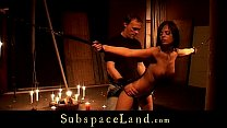Brunette slut restrained in the basement and fucked