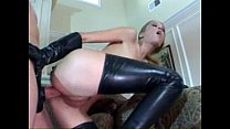 Anal in latex stockings