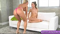 Nina and Anya Olsen passionate lesbian sex on the couch
