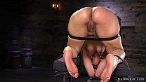 Brunette wet pussy toyed in bondage