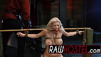 Blonde babe with big tits tied up and made to suck cock