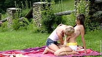 Playful Picnickers by Sapphic Erotica - Mellie and Camie lesbian outdoors sex