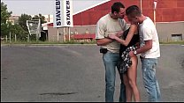 Extreme public sex gang bang threesome with a c...