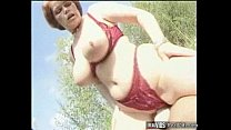 Plump mommy riding cock in the sun Thumbnail