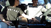 Sucking dick in the car leads to hard fucking creampie - 9Club.Top