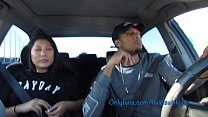 Sucking dick in the car leads to hard fucking creampie thumbnail