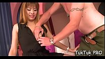 Guy helps the thai angel get off raiment and sc...