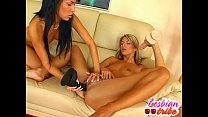 hot lesbians slut teen girls licking pussy and fuck a dildo thumbnail