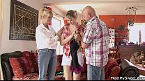 She rides her BF's dad cock and mom helps Preview