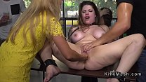 Huge tits slave bath in public fountain porn thumbnail
