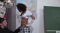 Amateur black student banged by the priest in a classroom preview image