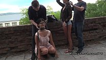Two hot slaves disgraced in public porn image