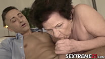 Promiscuous grandma rides dick until sweet faci... Thumbnail