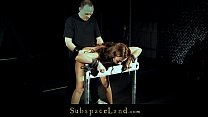 Hardcore Julie in sexy corset hard whipped and fucked in doggie video