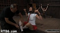 Master is torturing babe's cum-hole thumb