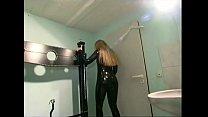Blonde slave girl looking hot in latex thumbnail