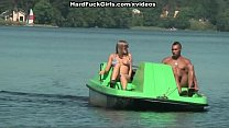 Titted blonde fucked hard in a boat preview image