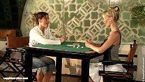 Geena and Britta play poker and then with some ...