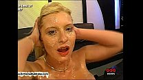 Busty Melanie and her friend clean each other's jizzed faces with their tongues Vorschaubild