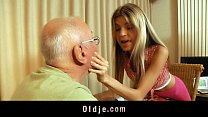 Sexy blonde teen satisfy her rich grandpa lover