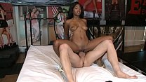 Ebony teen with amazing boby Ivy Sherwood plays with big white cock preview image