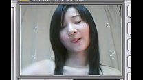 Cute Asian teen shows her flat chest and rubs h...