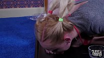 Sweet little slave is face fucked, fed man ass, and made to slurp cum from feet   Tube08 thumbnail