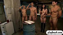Spicy Hot Women Enjoying Foursome Sex In The Jailcell