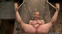 Huge tits blonde is tortured on hogtie