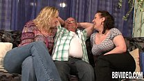 Two busty slags share a hard prick Thumbnail