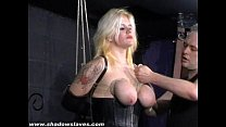 Busty blonde Cherrys breast bondage and amateur bdsm of tit tortured submissive thumbnail