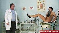 Unshaven housewife Eva visits gyno doc fuck hol... Thumbnail