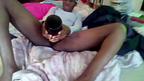 Black Teen Puts Bottle Up Pussy