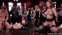 Babes serving and fucking at bdsm party