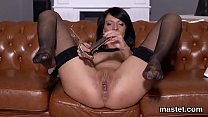 Frisky czech chick stretches her wet honey pot to the special thumbnail
