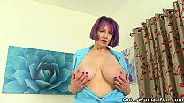 Busty grandma Tigger goes without bra and knickers