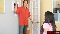 Disobedient latina stepdaughter punished by stepdad image