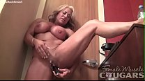 Naked Female Bodybuilder Masturbates Her Big Clit Vibrator